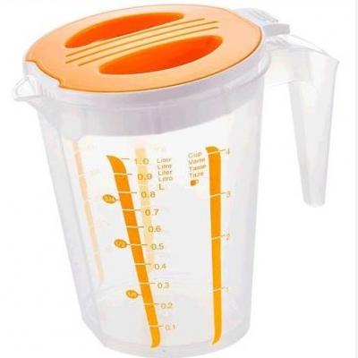 สินค้าแลกซื้อ เหยือกตวงพลาสติกมีฝาปิด 1 ลิตร สีส้ม