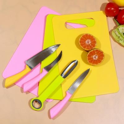 ชุดมีดทำครัว 4 เล่ม พร้อมเขียง (รวม 5 ชิ้น/ชุด) มี 3 สี