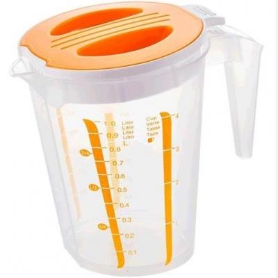 สินค้าแลกซื้อ เหยือกตวงพลาสติกมีฝาปิด 1 ลิตร สีเหลือง
