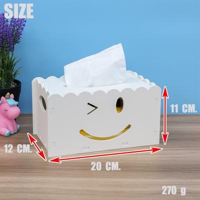 กล่องไม้ใส่กระดาษทิชชู่ ลายยิ้ม สีขาว