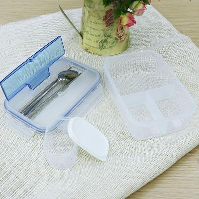 กล่องข้าวอุ่นในไมโครเวฟ กล่องข้าวแบบ3 ช่อง มาพร้อมกระปุกใส่ซุปและช้อน+ตะเกียบ