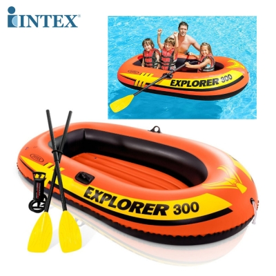 INTEX เรือยางเป่าลม พร้อมพายและที่สูบลมมือ Explorer Pro 300 Boat Set (A1154)