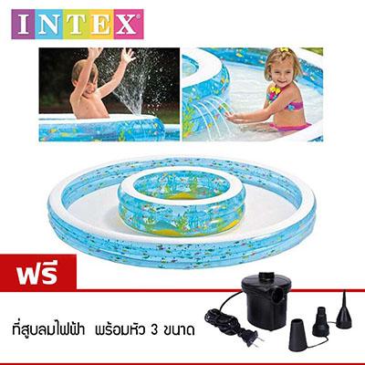 Intex 57143 สระน้ำ เป่าลม แบบมีน้ำพุ เส้นผ่าศูนย์กลาง 279 cm แถมฟรี! ที่สูบลมไฟฟ้า