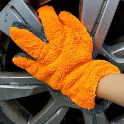 ถุงมือล้างรถผ้านาโน สีส้มเทา