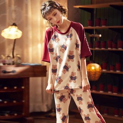 ชุดนอนเสื้อแขนสั้น-กางเกงขายาว ลายหมีแถบแดง มี 2 size