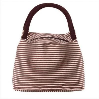 กระเป๋าใส่ของลายริ้ว สีน้ำตาล