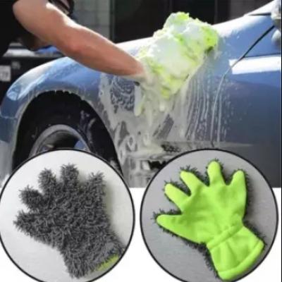 ถุงมือล้างรถผ้าไมโครไฟเบอร์  สีเทา-เขียว