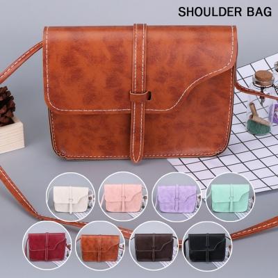 กระเป๋าแฟชั่น ทรงสี่เหลี่ยม ดีเทลสายรัดด้านหน้า คละสี