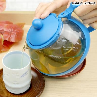กาชงชาพร้อมที่กรอง สีฟ้า