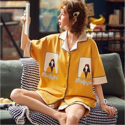 ชุดนอน เสื้อ+กางเกงขาสั้นสีเหลือง มี 2 size