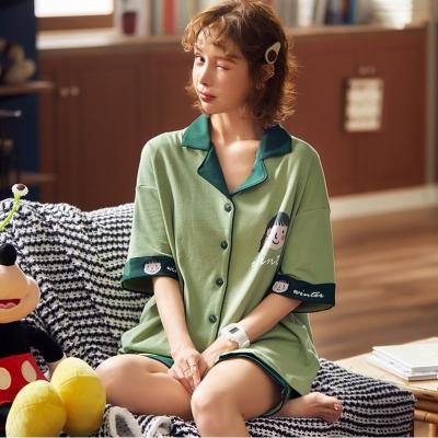 ชุดนอน เสื้อ+กางเกงขาสั้นสีเขียว มี 2 size