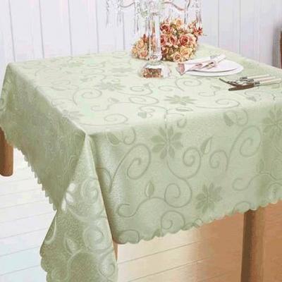 ผ้าปูโต๊ะทอลายเถาวัลย์ ดอกไม้  สีเขียวอ่อน