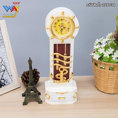 นาฬิกาตั้งโต๊ะคลาสสิคมีลิ้นชักเล็กเก็บของ สีขาว