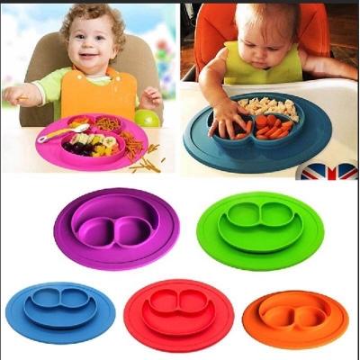 จานซิลิโคน หน้ายิ้ม จานอาหารเด็ก มี 3 สี