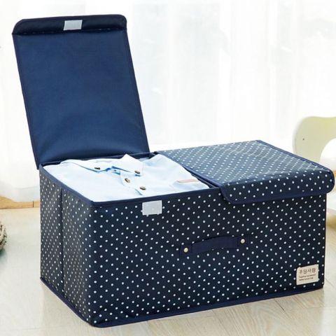 กล่องเก็บของอเนกประสงค์ มีฝาปิดพับเก็บได้ รุ่น 2 ช่อง มี 4 สี