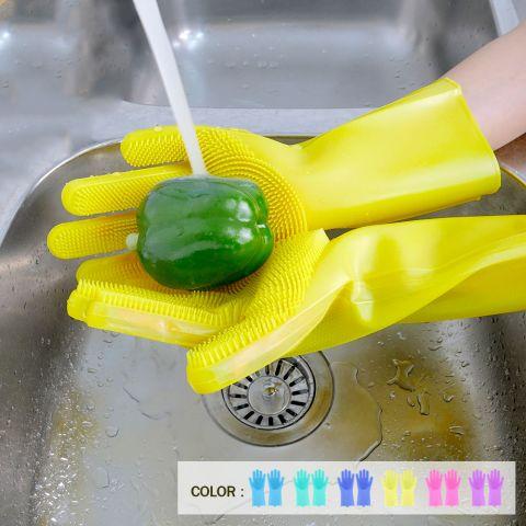ถุงมือ ซิลิโคนล้างทำความสะอาด คละสี