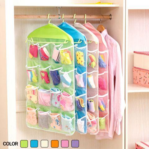 กระเป๋าใสแบบแขวน จัดระเบียบ 16 ช่อง คละสี