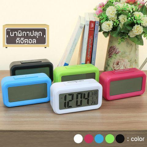 นาฬิกาปลุก พร้อมแสดงอุณหภูมิ  เสียงเงียบขณะทำงาน จอ LCD คละสี